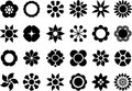 Set of flower web buttons illustrated black in shape flowers white background Royalty Free Stock Photos