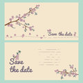 Set of flowering hand drown cherry blossom card vintage background vector illustration best for invitations textile print greeting Royalty Free Stock Image