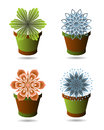 Set of flowerpots Stock Image
