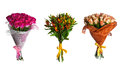 Set flowers bouquet isolated Stock Photos