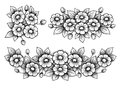Set flowers daisy bunch vintage Victorian frame border floral ornament engraved retro tattoo black and white calligraphic vector