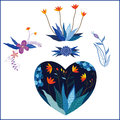 Set of flowers in heart shape traditional style illustration design Stock Photography