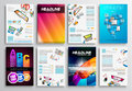 Set of flyer design web templates brochure designs technology backgrounds mobile technologies infographic ans statistic concepts Royalty Free Stock Photography