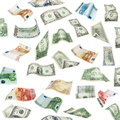 Set of flying dollars and euro banknotes isolated on white background, with clipping path Royalty Free Stock Photo