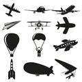 Set of flying icons Royalty Free Stock Images