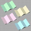Set of folded realistic colored paper mockup sheets on transparent background. Isolated vector object. Royalty Free Stock Photo