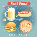 Set of food and drink fast food colorful meals drinks on a blue background aged Stock Image