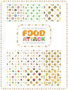 Set of food and drink seamless patterns. Food Attack.