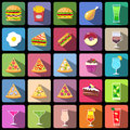 Set of food and drinks icons. Flat style design isolated icons Royalty Free Stock Photo