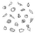Set of food hand drawn doodles.