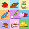 Set of food icons on the colorful backgrounds Royalty Free Stock Photography