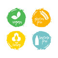 Set of food labels - allergens. Food intolerance symbols collect