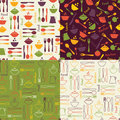 Set of food seamless patterns Royalty Free Stock Photo
