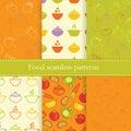 Set of food seamless patterns Royalty Free Stock Photo