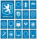 Set of football crest on blue tag in flat design. Football logo emblem. Football badge. Vector Royalty Free Stock Photo
