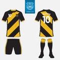 Set of football jersey, soccer kit. Football apparel mock up.