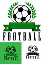 Set of football or soccer emblems with a foliate wreath enclosing a ball over a blank ribbon banner over the word Stock Images