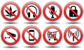 Set forbidden signs vector icon whth camera castle microphone phone internet purchase wi fi Stock Photos