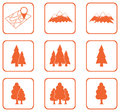 Set of forest and mountains icons