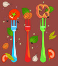 Set of forks. Illustration Royalty Free Stock Photography