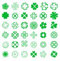 Set of fortune four leaf clovers vector illustration