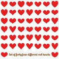 Set of forty four different red hearts, isolated on white. EPS 10