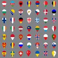 Set of forty nine geolocation icons. Flags of all European countries in the form of geolocation icons. Geotag icons for your web