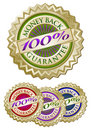 Set of Four 100% Money Back Guarantee Emblem Seals Royalty Free Stock Image