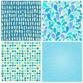 Set four abstract seamless backgrounds of blue color Royalty Free Stock Photo