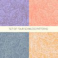 Set of four abstract seamless patterns made in vector vector file organized in layers for easy editing Royalty Free Stock Image