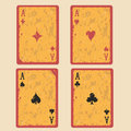 Set of four aces playing cards retro Royalty Free Stock Photos
