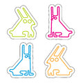 Set of four acid colored simle rabbits white background hand drawn vector illustration Royalty Free Stock Photo