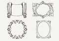 Set of four ancient banners and frames Royalty Free Stock Images