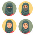 Set four Arab girls avatars in different traditional headdresses. Isolated. Vector. Young arab woman icons set girls portrait in c