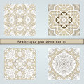 Set of four arabesque seamless pattern in editable vector file Stock Image
