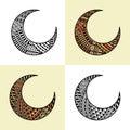Set of four arabic half moons Royalty Free Stock Photo