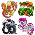 Set four artful Asian color dragon Royalty Free Stock Photo