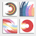 Set of four beautiful abstract backgrounds. Abstract flash light circles.