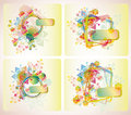 Set of four beautiful backgrounds with flowers Royalty Free Stock Photos