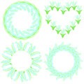 Set of four beautiful round frames made of lilies of the valley Royalty Free Stock Photo