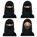 Set four beautiful young saudi woman portrait in black hijab in different face: looking left and right, closed face veil.