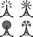 Set four black silhouettes radio tower Royalty Free Stock Photography