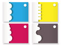 Set of four blank cards with paper origami elements eps Stock Photography