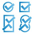 Set four blue tick icons white background Royalty Free Stock Photos