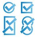 Blue tick icons Royalty Free Stock Photo