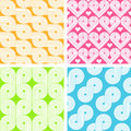 Set of four bright seamless patterns Stock Photos