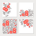 Set of four cards with red abstract flowers Royalty Free Stock Photo