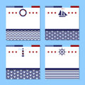 Set of four cards in sea theme Royalty Free Stock Photo