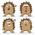 Set of four cartoon hedgehogs Stock Images