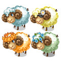Set of four cartoon sheep with different accessory